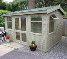12' wide x 8' deep deal Arley Pavilion with green felt tiles and coloured external finish