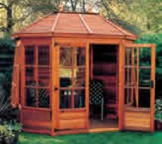 "8'5"" wide x 6' deep cedar Gazebo with optional cedar slatted roof, Georgian windows and doors."