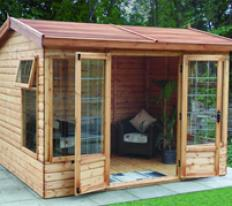 10' wide x 8' deep deal Harvington with optional cedar slatted roof, square leaded windows and doors