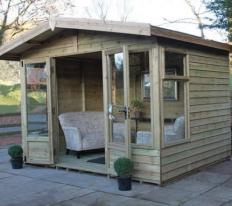 10' wide x 8' deep Highey with pressure treated slatted roof