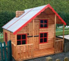 8' wide x 6' deep Lodge with optional red paint pack and chimney.
