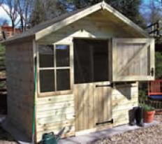 8' wide x 6' deep pressure treated Ludlow with optional stable door and pressure treated slatted roof.
