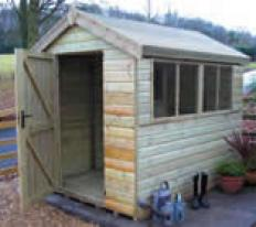 8' deep x 6' wide pressure treated Malvern Apex with optional pressure treated slatted roof.