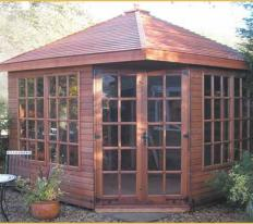 10' wide x 10' deep cedar Martley with optional cedar slatted roof, Georgian windows and doors.