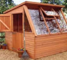8' wide x 8' deep cedar Solar with optional stable door in left hand end.