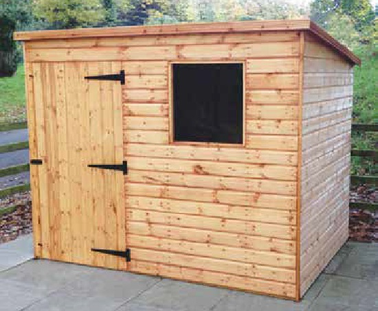 8' wide x 6' deep deal Bewdley Pent with door left of front