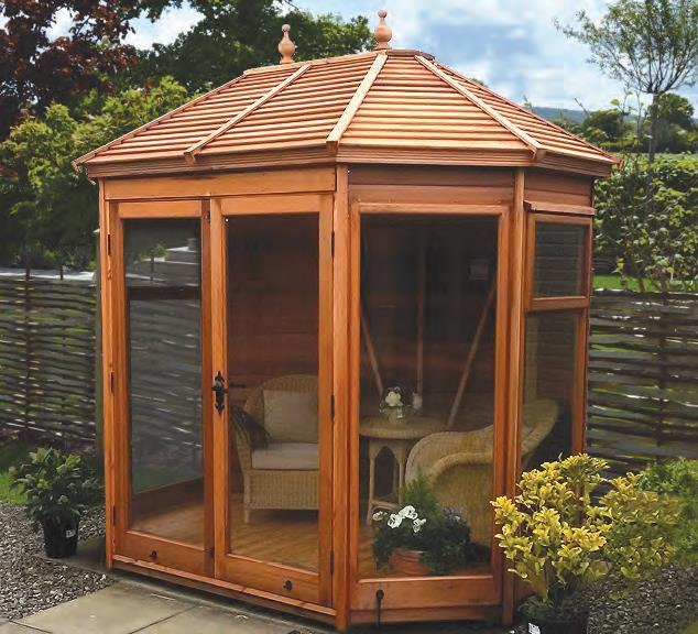 85 Wide X 6 Deep Cedar Gazebo With Slatted Roof Glass To Ground Windows And Doors