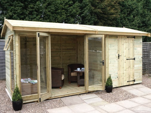 Malvern collection of garden offices garden rooms garden for Garden office with side shed